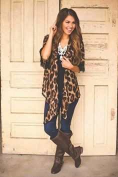 Chiffon Leopard Cardigan from Dottie Couture Boutique. Saved to Dottie Couture Boutique. Dottie Couture Boutique, A Boutique, Fashion Boutique, Fall Winter Outfits, Autumn Winter Fashion, Fall Fashion, Winter Clothes, Classy Outfits, Cute Outfits