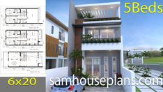 House Plans with 5 Bedrooms - Sam House Plans Modern Bungalow House Design, Small Modern House Plans, Duplex House Design, Small House Design, New House Plans, House Floor Plans, 30x40 House Plans, Bedroom House Plans, Plantas Duplex
