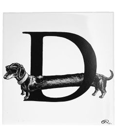 Rory Dobner Diamond Dog Letter D Tile | Home Decor by Rory Dobner | Liberty.co.uk