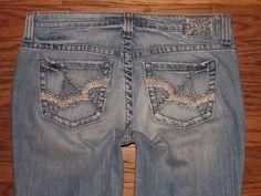 5fa24b87c3a BIG STAR MADDIE Mid Rise Boot Cut Blue Stretch Jeans Sz 33 LONG W 35 x L 34