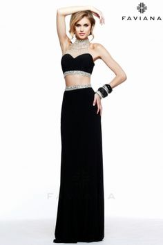 S7511 evening-gowns black two piece prom dress with beaded details