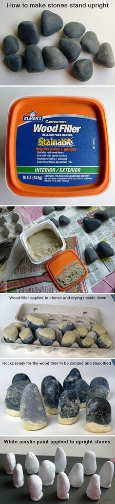 How to Make Stones Stand Upright and Expand Your Rock Painting Possibilities - Photo Version http://paintingrocks.blogspot.com/2013/05/how-to-make-stones-stand-upright-and_8.html