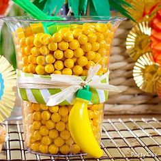 A candy buffet idea they'll go bananas over: tropical fruit candy + gumballs, ready to scoop and share!