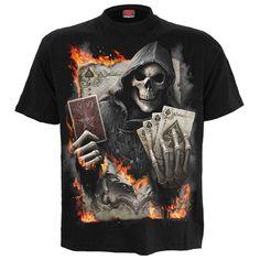 Men/'s Skull Bones Graphic Undead Gothic Rock Metal Black 3D Graphic T-shirt