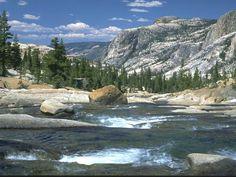 Tuolumne Falls  in Tuolumne Meadows. Tuolumne Meadows is above Yosemite Valley. Also known as upper Yosemite.