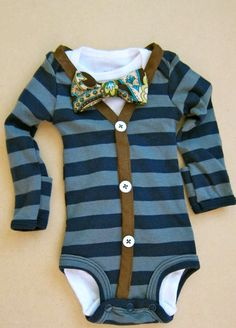 I don't think I can wait... I might buy this for myself :v)  Baby Boy Outfit - Blue/Gray Stripe with Brown Cardigan - Brown Paisley Bow Tie. $30.00, via Etsy.