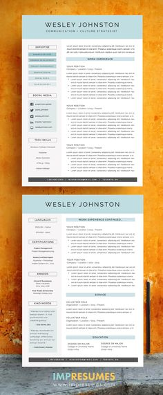 Resume Template - CV Template + Cover Letter - MS Word on Mac / PC
