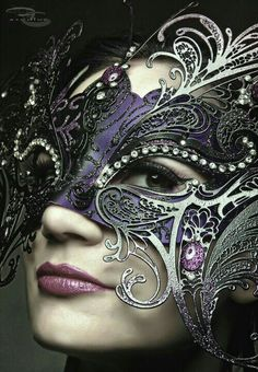 Masquerade mask in black, purple, and silver - really pretty.: Mask S Black Masquerade Mask, Masquerade Party, Masquerade Costumes, La Danse Macabre, Beautiful Mask, Carnival Masks, Carnival Costumes, Masks Art, Venetian Masks