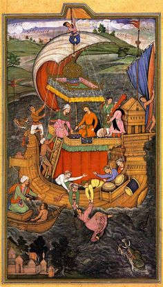 The Drowning of the Chinese Beauty  A folio from the Aiyar-e-Danish (A Book of Animal Fables)  Mughal, Reign of Akbar, 1596-7  Painter: Mishkin  Size: 24.8 x 13.9 cm  Bharat Kala Bhavan, No. 9065/22