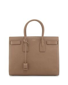 Sac de Jour Grained Leather Carryall, Taupe by Saint Laurent at Neiman Marcus.
