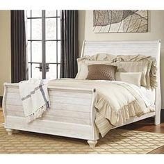 Willowton Queen Sleigh Bed in Whitewash | Nebraska Furniture Mart