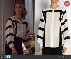 Elizabeth s white blouse with black striped sleeves on Madam Secretary a267dd9f6