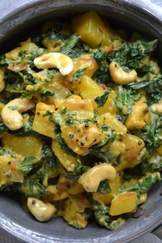 Indian Vegetarian Recipes 77177 Kale and Cashew Curry with Potatoes - Juliet's Recipes Salmon Recipes, Veggie Recipes, Indian Food Recipes, Ethnic Recipes, Potato Recipes, Dinner Recipes, Vegan Vegetarian, Vegetarian Recipes, Healthy Recipes