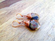 Brown teardrop wire wrapped spotted chalcedony earrings by Gendrea, $18.00