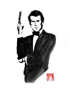 #piercebrosnan #007 #jamesbond #sumie #japan James Bond, Pierce Brosnan 007, Sumi E Painting, Movie Characters, Fictional Characters, Buy Art, Paper Art, Saatchi Art, Original Art