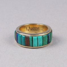 Inlay gold ring by Charles Loloma - Shiprock Gallery