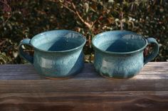 Pottery Soup Bowls in Aqua Glaze Seagrove NC by Beaverspottery, $28.00
