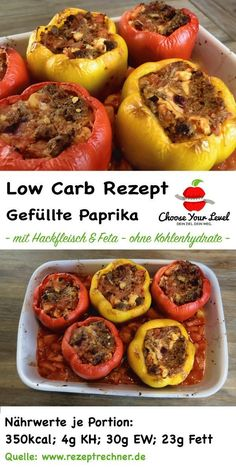 low carb gefüllte paprika mit hackfleisch und feta – low carb gerichte – gefül… low carb stuffed peppers with minced meat and feta – low carb dishes – stuffed low carb peppers – low carb recipe paprika stuffed Low Carb Recipes, Beef Recipes, Chicken Recipes, Healthy Recipes, Law Carb, Low Carb Stuffed Peppers, Meat Recipes For Dinner, Dessert Recipes, Carne Picada