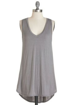 Endless Possibilities Tunic in Grey - Long, Jersey, Knit, Grey, Solid, Casual, Minimal, Sleeveless, Spring, Summer, Good, V Neck, Grey, Sleeveless