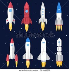 Space Rocket Start Up and Launch Symbol New Businesses Innovation Development Flat Design Icons Set Template Vector Illustration - stock vector