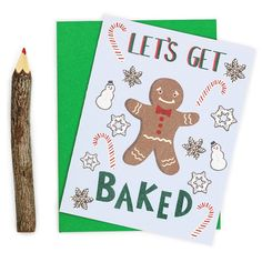 Let's Get Baked - Funny Christmas Card - Gingerbread Man Christmas Card - Funny Holiday Card - Christmas Card - Gingerbread Man Card by TurtlesSoup on Etsy https://www.etsy.com/ca/listing/244778651/lets-get-baked-funny-christmas-card