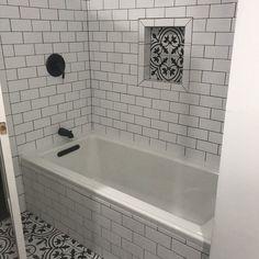 Archer 60 x 30 Soaking Bathtub Hall Bathroom, Upstairs Bathrooms, Bathroom Flooring, Bathtub Ideas, Bath Tub Tile Ideas, Tile Around Bathtub, Bathtub Tile Surround, 1930s Bathroom, Bath Tub Decor Ideas
