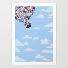 disney pixar up.. balloons and sky with house - $14.56