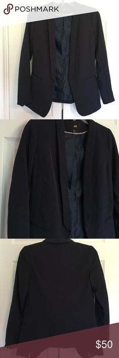 H&M navy blazer Beautiful flat front blazer in perfect condition! No button. Only worn once. 94% polyester, 6% elastane. 26 inches long in the front, 24 inches long in the back. H&M Jackets & Coats Blazers