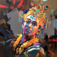 Shiva Art, Krishna Art, Hindu Art, Krishna Images, Modern Indian Art, Indian Folk Art, Composition Painting, Abstract Portrait Painting, Krishna Painting