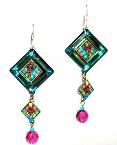 Firefly Sterling Silver La Dolce Vita Elaborate Mosaic Swarovski Crystal and Czech Bead Dangle Earrings in Multicolor Firefly. $69.95. Designed by Juan Carlos Chavajay Vasquez. Made with multi-colored Firepolished Czech glass beads and Swarovski crystals. Sterling silver La Dolce Vita Sterling 3 tiered earrings with diagonal shaped Swarovski Crystals and Colorful Czech beads. Hangs 1 3/4 inches long, 3/4 inch wide with shepherd hooks