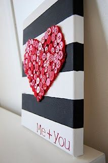 paint canvas with thick black and white stripes and glue red buttons in the shape of a heart.    I think you could do this with black ribbon on a white canvas or any color ribbon or buttons :) #Artsandcrafts
