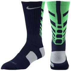 Nike Elite Sequalizer Crew Socks - Men's - Basketball - Accessories - Blackened Blue/Stadium Grey/Poison Green