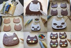 Cat cookies with stencil (Recipe in Japanese)