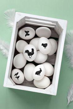 Ovos de Páscoa natural decorados com adesivos | Eu Decoro