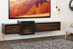 Floating Fireplace Wall Mount TV Stand - ECO GEO Espresso - Woodwaves Wall Mount Tv Shelf, Hanging Tv On Wall, Best Tv Wall Mount, Wall Mount Tv Stand, Wall Mounted Tv, Floating Tv Shelf, Floating Fireplace, Floating Tv Stand, Fireplace Console