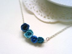 Polymer Clay Roses Necklace Wire Wrapped on by Thedreamzloft