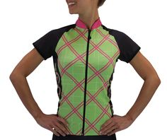 Women's Cycling Jersey in Pink Tartan Design