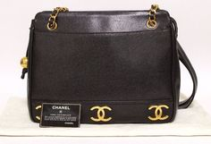 95d84cb779f523 Authentic CHANEL Triple Coco Caviar Skin Shoulder Bag Vintage (380919)