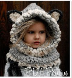 Crochet PATTERN-The Woodlynn Wolf Cowl (12/18 months, Toddler, Child, Adult sizes) by Thevelvetacorn on Etsy https://www.etsy.com/listing/118303585/crochet-pattern-the-woodlynn-wolf-cowl