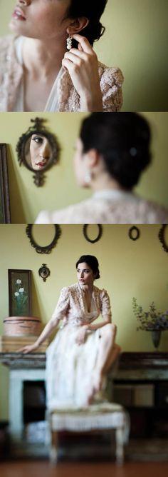 love the bottom photo - vintage bridal boudoir inspiration