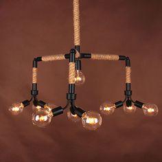 American Style Hemp Rope Pendant Light Personalized Living Room Vintage Pendant Lamps