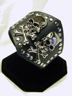 Leather Cuff Wristband with Double Skulls by CreationsbyDreamLady, $25.00