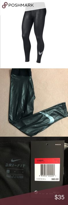 Metallic Nike Workout Leggings Size: Large. These are so cute and shimmery. The glitter is embedded into the fabric, so you won't leave a trail everywhere you go. Brand new, with tags, and never worn. Nike Pants Leggings