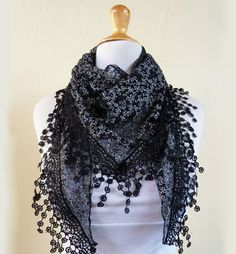 """Womens scarf """"Lilith"""" in BLACK with floral pattern and rich lace edge - scarflette shawl neckwarmer - Spring / Summer on Etsy, $10.00"""