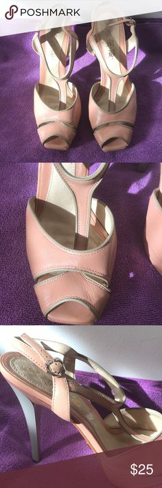 L.A.M.B. leather t-strap pink stilettos If you like a bird's eye view, these pink (almost flesh-colored) heels are for you. With a sensual narrow open toe and a flirty t-strap you'll be the hit of any gathering. Gently used with some wear and tear (see photos) these are size 8.5 US. L.A.M.B. Shoes Heels
