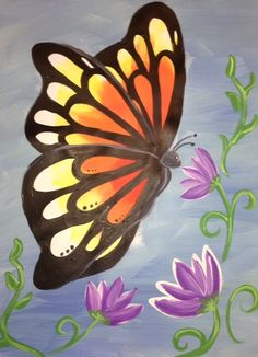 Monarchs are in the air - Painting class My ART Happens - Denver Metro Area At YOUR location Butterfly Painting Easy, Bee Painting, Butterfly Drawing, Easy Canvas Painting, Simple Acrylic Paintings, Spring Painting, Easy Paintings, Painting & Drawing, Painting Classes