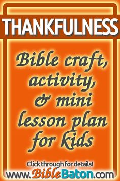 Need a fun thankfulness Bible craft? Try this easy thankful craft idea & fun gratitude activity for kids during your Sunday School lesson on thankfulness! Kids Sunday School Lessons, Kids Church Lessons, Sunday School Activities, Bible Lessons For Kids, Bible For Kids, Thanksgiving Sunday School Lessons, Children Church, Bible Activities, Children Activities