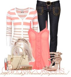 """nude and coral"" by candy420kisses on Polyvore"