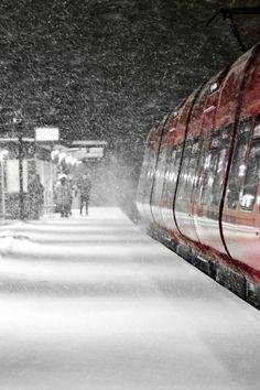 Winter train station