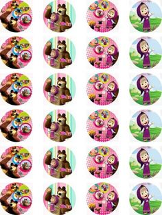 Masha and the Bear Edible Wafer Card 24 Precut Cupcake/Fairy cake Toppers